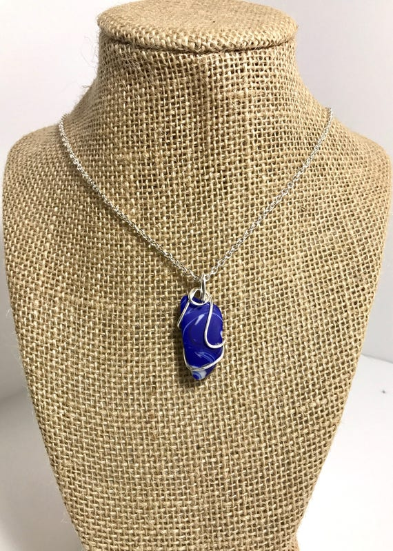 Royal blue and white swirled slag glass pendant-wire wrapped with silver filled wire