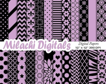 60% OFF SALE Black and Purple digital paper, damask scrapbook papers, chevron background, wallpaper, commercial use - M544