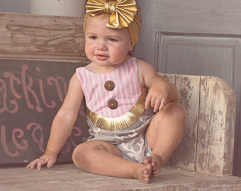 Baby Reagan's Bib boho romper . PDF sewing patterns for Baby sizes NB-24 months