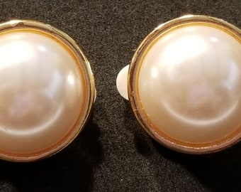 Vintage Large Faux Pearl Clip-On Earrings