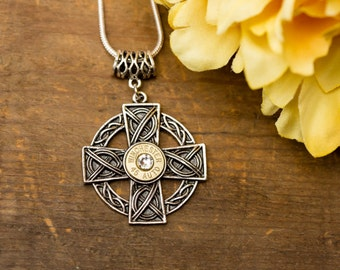 """Bullet Casing Jewelry - """"Round Cross"""" Bullet Necklace (45 Auto)"""