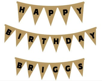 Iron On Fabric Letters, Birthday Applique Design, DIY Happy Birthday & Name Letters For Pennant Banner, DIY Birthday Gift, Applique Kit