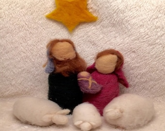 Kit: Needle Felted Nativity....Holy Family, Sheep and Star
