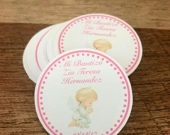 Baptism Stickers, Mi Bautizo stickers, Christening personalized stickers, Party favor stickers, set of 12