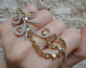 Statement ring in Sterling Silver with Citrine and CZ, Size 5 and 7