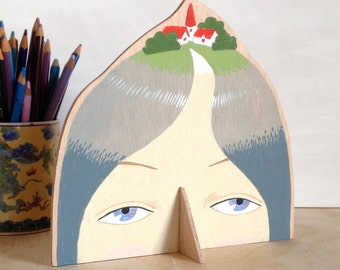 Hand painted plywood sculpture - Lady with Village on her Head XIII