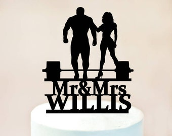 Personalized Wedding Cake Topper,Your Man is Strong! Weight lifting Groom topper,Mr&Mrs Last name topper,Muscle man and muscle woman (1132)