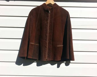 Brown Suede Leather Cape