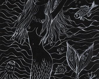 little mermaid, fantasy art, sea and fish,  original white pen drawing