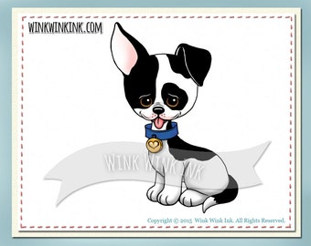 Digital stamp - Spot - black and white puppy printable digi image