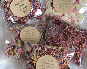 10 Wedding Guest Confetti Packs, Personalised Confetti Packets, Confetti Bags, Real Petal Eco confetti, Natural Confetti Petals for guests