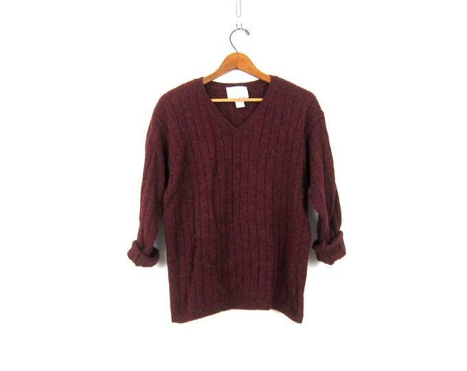 Dark Red Wool sweater Simple Purple sweater basic Vneck Pullover women's Express sweater size Medium Large