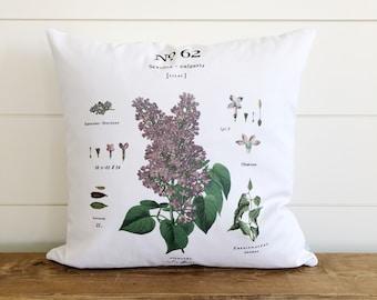 Lilac Botanical Pillow Cover