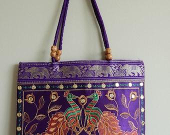 Vintage Indian embroidered handbag • Purple • Embroidery • Peacocks • Birds • Mirror • Ethnic • Hippie • Boho • Bohemian • Purse • Elephants