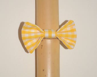 Elastic with yellow or blue or pink gingham hair bow