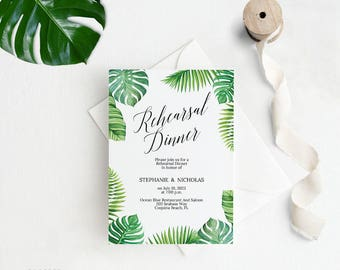 Tropical Rehearsal Dinner Invitation, Rehearsal Dinner Invitation Template, Wedding Rehearsal Invitation, PDF Instant Download #E027