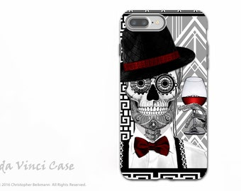 Art Deco Sugar Skull Apple iPhone 7 PLUS - 8 PLUS Tough Case - Black and White 1920s Day of the Dead Case - Dual Layer Case