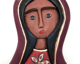 Mexican virgin. Guadalupe virgin. Mexican folk art. Folk art. Frida Kahlo. Vintage virgin. Wooden virgin. Mexican art. Religious art. Boho