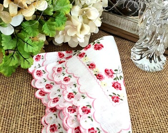 "Vintage Ladies Handkerchief, Wedding Hankie, Roses, Scalloped Edge, Floral, Bride, Bridesmaid Hanky, Cranberry, Pink,  13"""