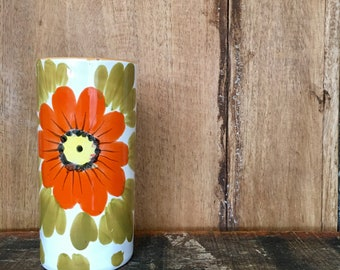 Vintage Italian Ceramic Pottery Poppy Red Orange Yellow Flower Vase Art