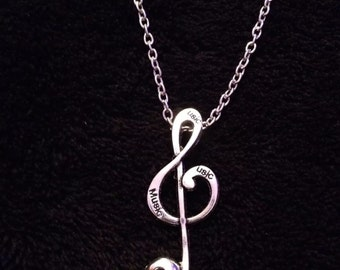 80p UK P&P Handmade Music note Sugar Skull Pendant with 24inch chain in gift bag Silver treble clef alloy punk rock chick indi emo UK