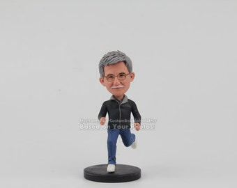 Personalized Running Grandpa bobblehead dolls - Customized grandpa gift, Grandfather birthday gift, Father's Day Gift, Gift For Grandpa