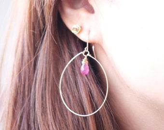 Natural Ruby Hoop Earrings / Drop, Gemstone, Round, Pink / Anabel Nove