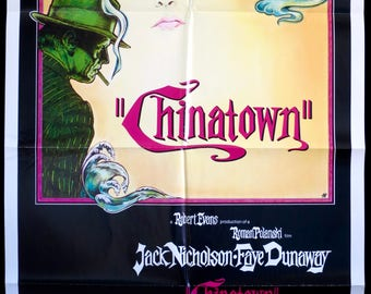 CHINATOWN ~ 1974 Original U.S. 1 Sheet Movie Poster in Fine Cond. ~ Elegant Jim Pearsall Art for Polanski Noir Classic! NICHOLSON & DUNAWAY!