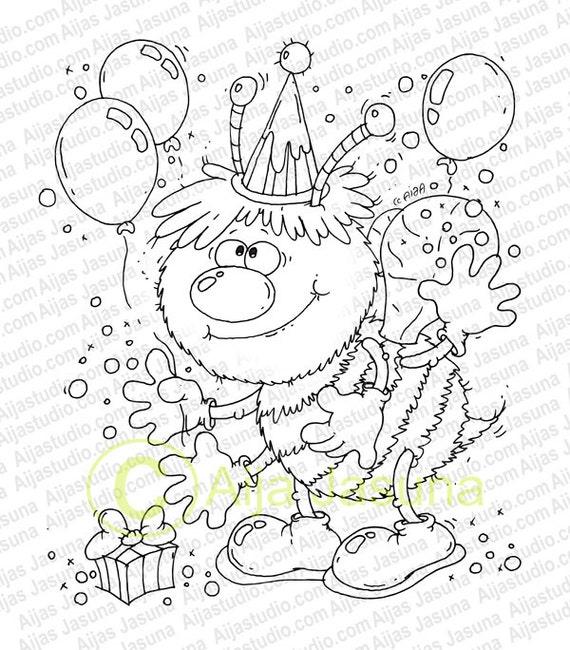 Sello digital, abeja, página para colorear, cumpleaños, bebé, globo ...