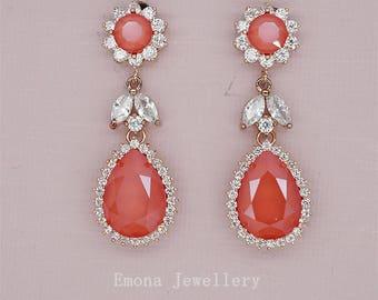 Red Wedding Earrings Coral Bridal Earrings Chandelier Earrings Wedding Jewelry for Brides Swarovski Rhinestone Earrings in rose gold