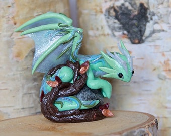 Polymer Clay Dragon Sculpture; Mini/Tiny/Green/Blue/Fairy/Faerie/ Turquoise/Tree/Leaf/Silver/ Fantasy Animal Art