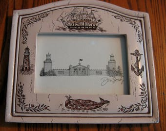 TWIN LIGHTS LIGHTHOUSE Pen and Ink portrait Scrimshaw Frame Hand Signed by Artist