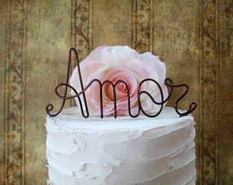 AMOR Wedding Cake Topper, LOVE Wedding Cake Topper, Personalized Wedding Cake Decoration, Bridal Shower, Enagement Party,Wedding Centerpiece