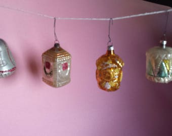 Vintage, figural, mercury glass Christmas ornaments, German, mica