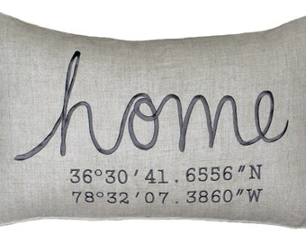Housewarming Gift, Wedding Gift, New Home Gift, Coordinates Pillow Cover, Longitude Pillow Cover Embroidered Throw Pillow