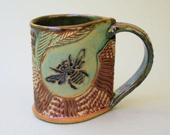 Bumblebee Pottery Mug Coffee Cup Handmade Stoneware Microwave and Dishwasher Safe