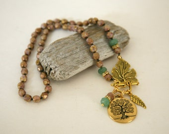 Pastel Green and Brown Knotted Czech Glass Tree of Life Pendant Dangling Charm Front Closure Necklace,Autumn Leaf Necklace