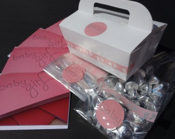 12- Baby GIRL Princess Themed Shower PUFFSCAPE PARTY Kit Invitations, Favor Bags, Boxes, Puffetti & Flower Puff Garland