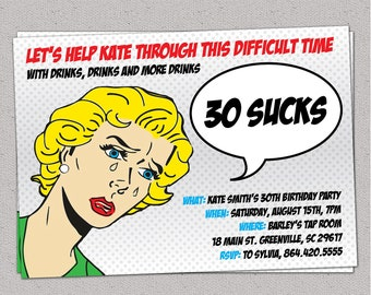 30 Sucks Birthday Party Invitation, Retro Pulp Woman, Funny, Thirty, 30th, 40th, 50th, 60th, Printable DIY digital file