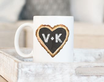 Coffee Mug Chalkboard Initials Love Heart Coffee Cup