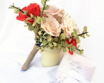 Romantic Paper Flower Wedding Bouquet, Elegant, Pink Wedding, Valentine Flowers, Handmade, Beautiful Bridal Bouquet, Wedding Flowers