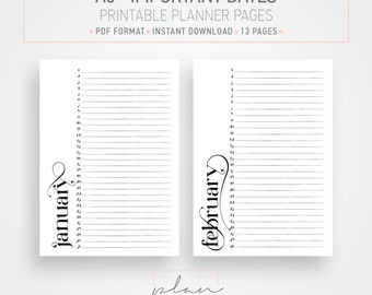 Printable A5 planner, Birthday inserts, Monthly planner, Minimal planner pages, Instant download, Black and white planner, DIY planner