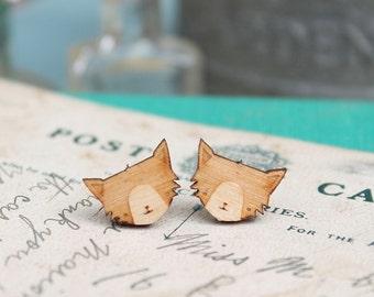 Laser Cut Wooden Cat Stud Earrings