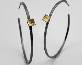 Geometric hammered hoop earrings with square add-on and a brilliant cut diamond, Gift for her, Textured earrings, Gold silver earrings