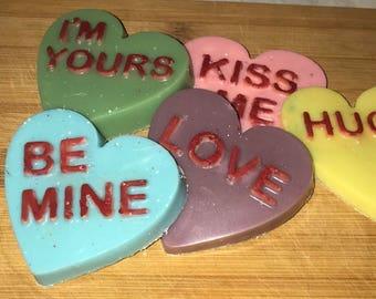 Conversation heart soaps