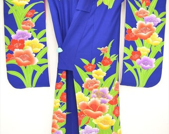 UCHIKAKE KIMONO 58a - Decorated with colourful Daffodils with some embriodery