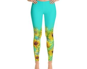Sunflowers Leggings, print leggings, yoga leggings, gym workout leggings, yogagear, gift for her, stretchy homewear, soft woman Leggings