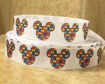 5 YDS Mickey Autism Awareness Ribbon