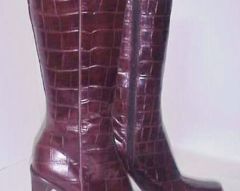 Alligator boots by Kenneth Cole/Authentic Couture Boots/6M/Never Worn/ Spectacular Desigh