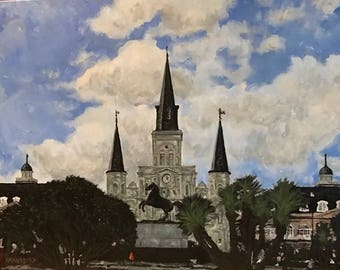 JACKSONLESS SQUARE, New Orleans, 2017; hand-signed limited gyclee print on canvas
